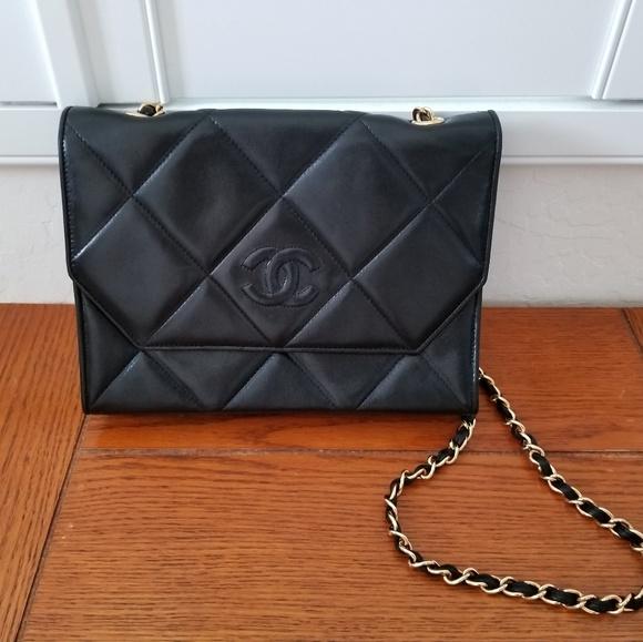 2d74c575946d Chanel Bags | Quilted Black Lambskin Shoulderclutch Bag | Poshmark